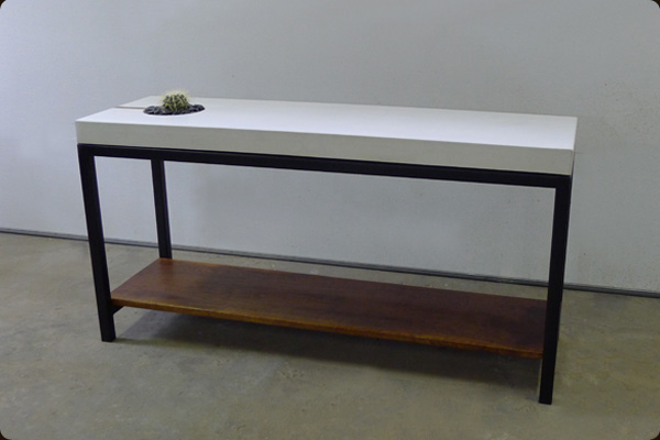 concrete walnut and steel table cement furniture