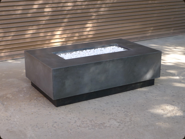 rectangular concrete fire pit