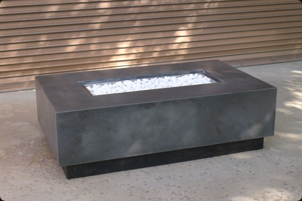 Concrete pete rectangular firepit raleigh nc for Outdoor modern fire pit