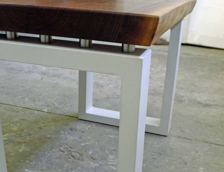 Concrete and walnut end table