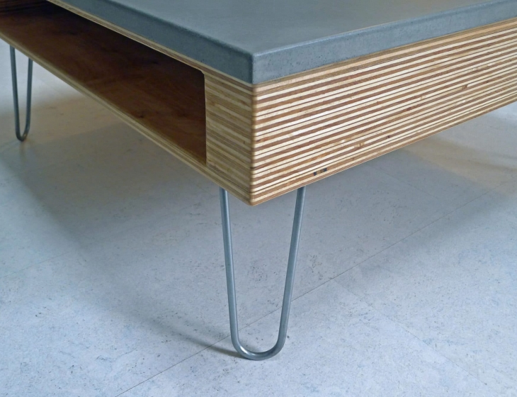 concrete and plywood coffee table