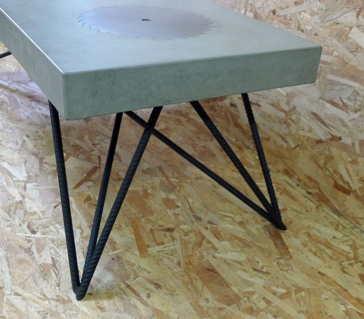 concrete and rebar coffee table