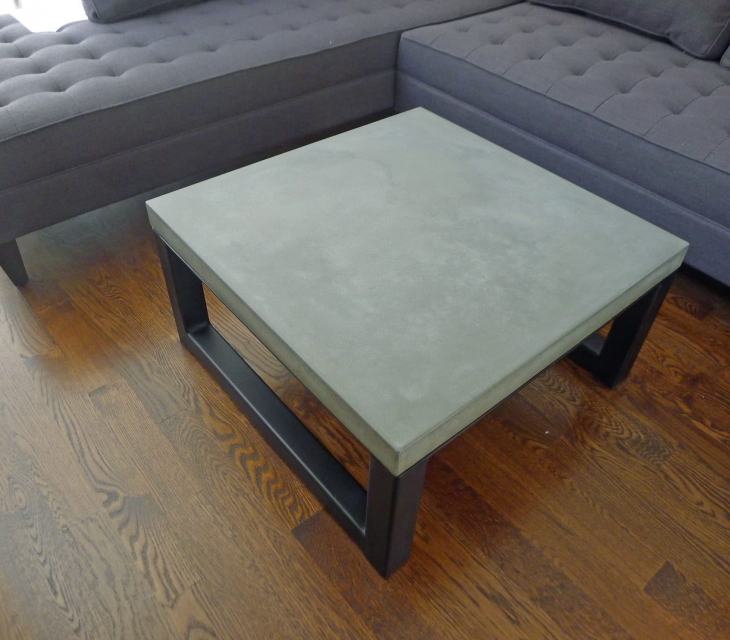 Concrete and steel coffee table
