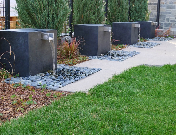Modern concrete water feature
