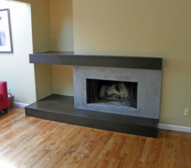Two color concrete fireplace