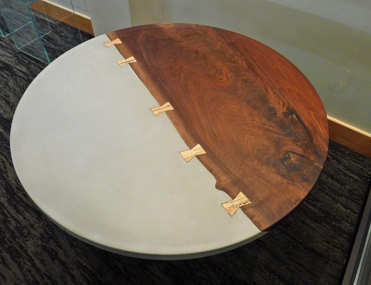 Concrete and walnut round table