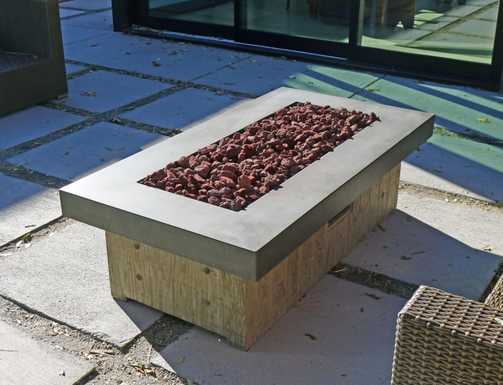Board-formed concrete fire pit