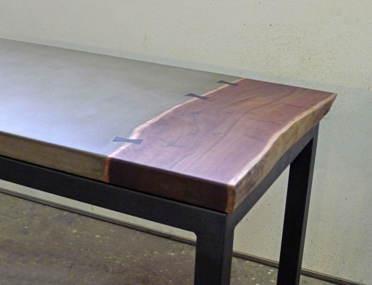 Concrete and walnut desk