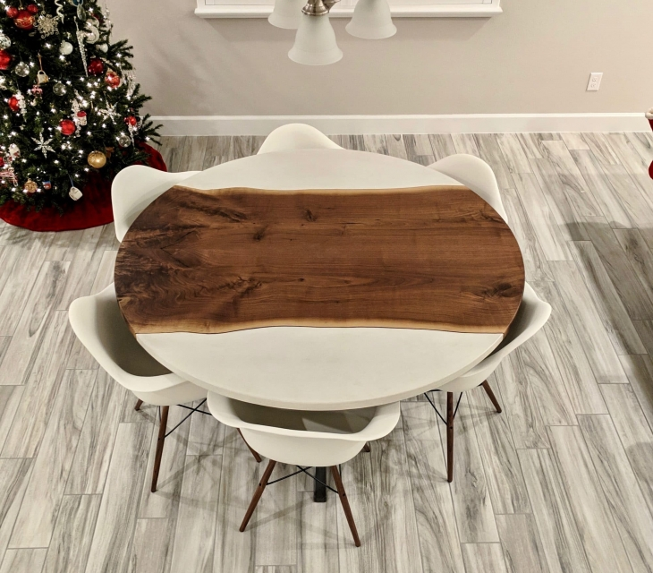 Walnut bookmatch round table