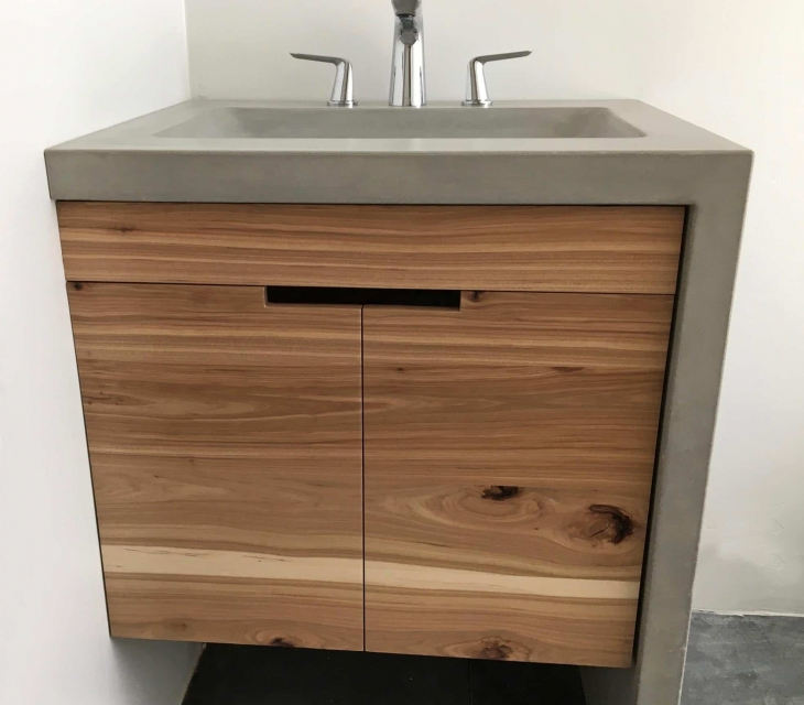 Salida concrete sink and hickory vanity