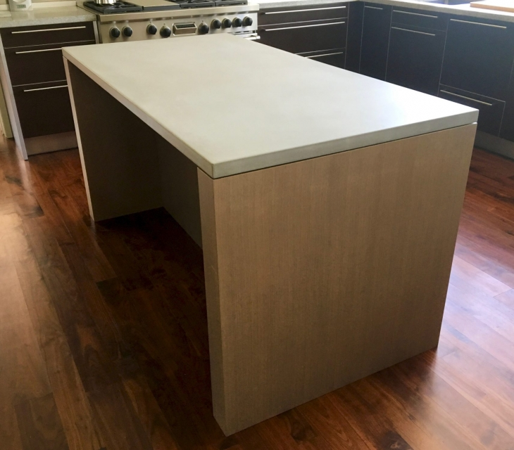 White oak and concrete kitchen island