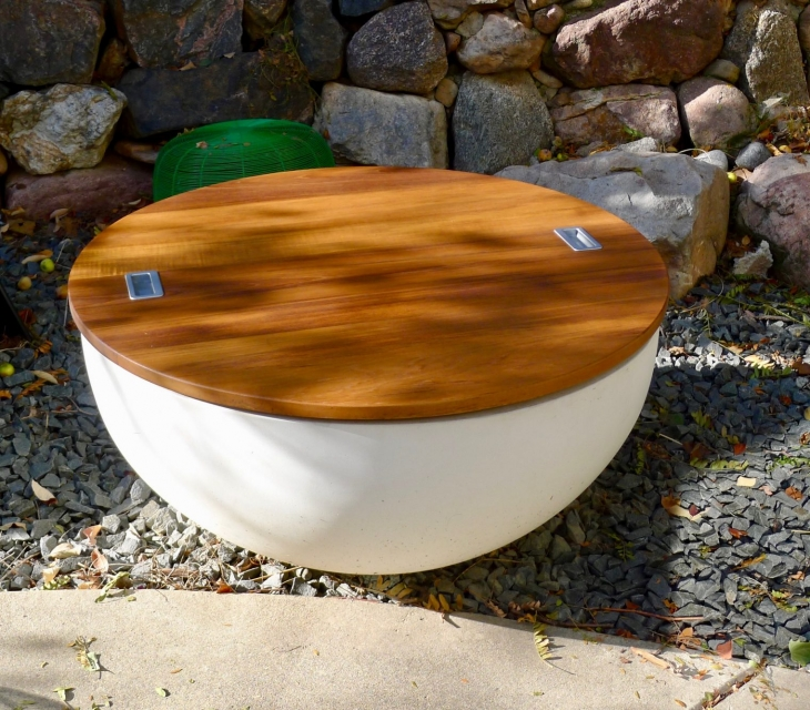 Concrete fire bowl with teak top