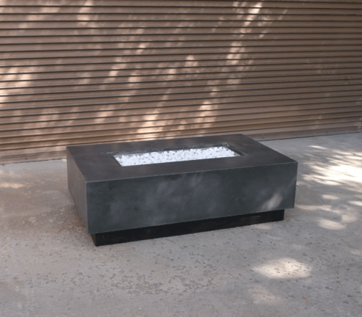 Floating rectangle concrete firepit