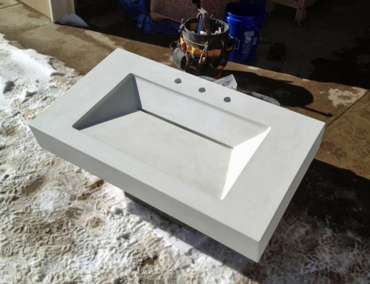 White concrete sink