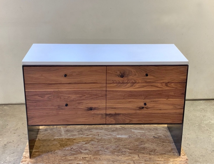 Concrete, steel and walnut credenza