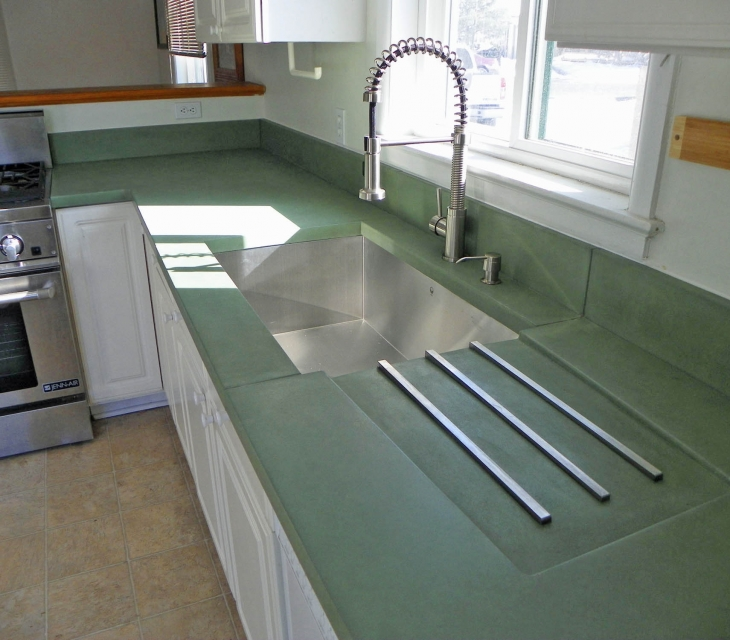 Custom green concrete countertops