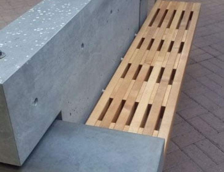 concrete and maple bench