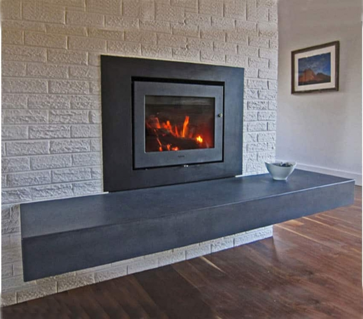 floating concrete hearth
