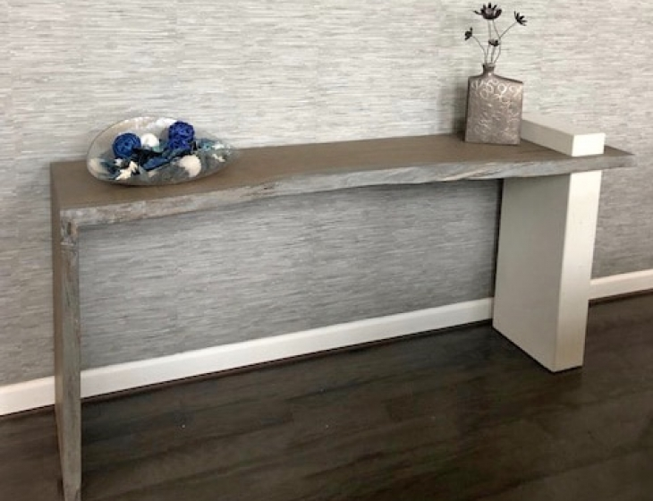 Concrete and white oak console table