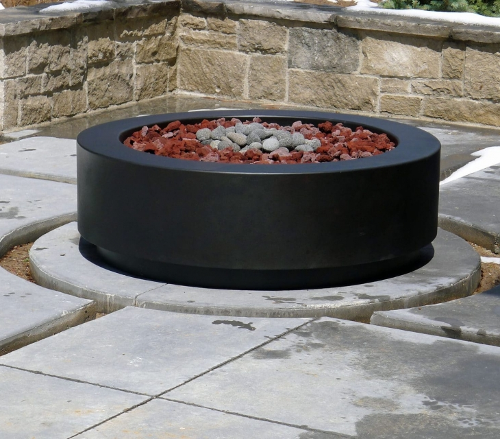 Denver round concrete fire pit
