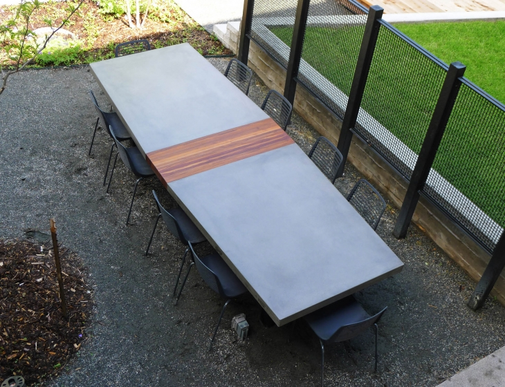 concrete and teak conference table