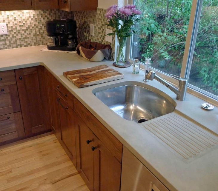 Boulder concrete kitchen counters