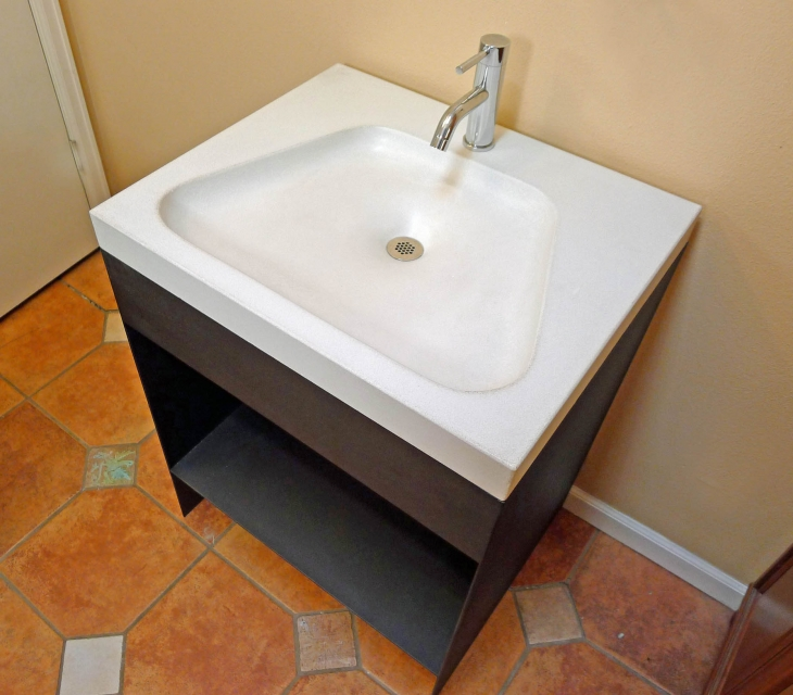 Steel vanity with concrete sink