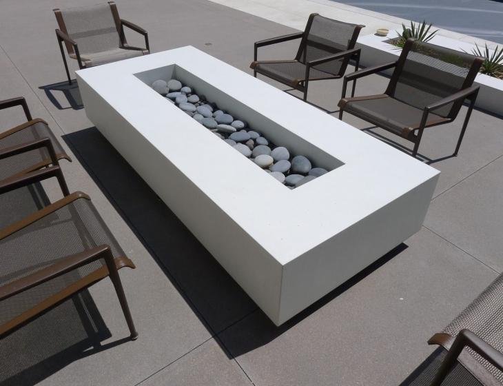 White concrete firepit