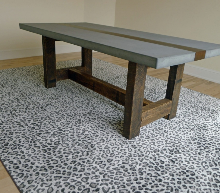 concrete and reclaimed wood table