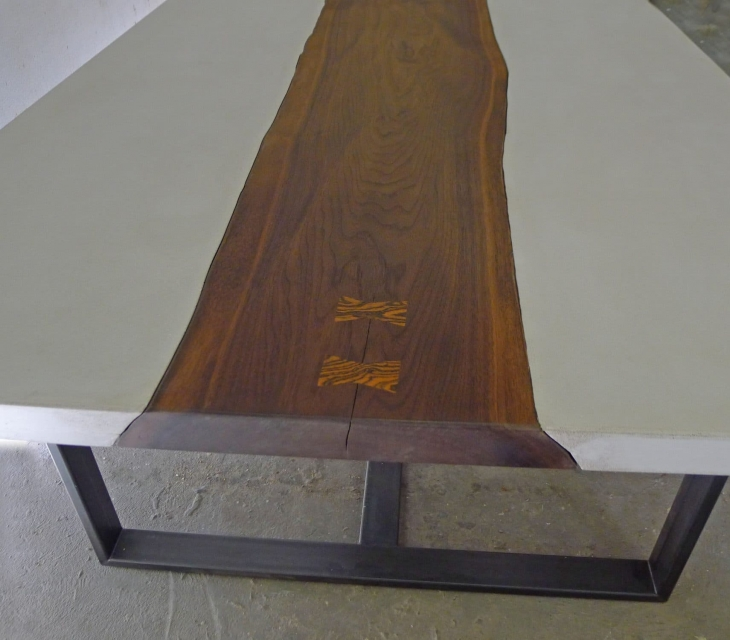 Concrete and walnut river table