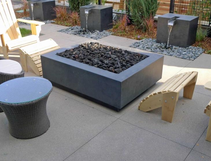 Modern concrete fire pit