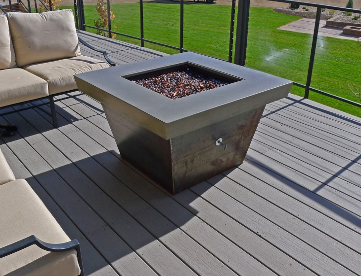 concrete and Corten steel fire pit