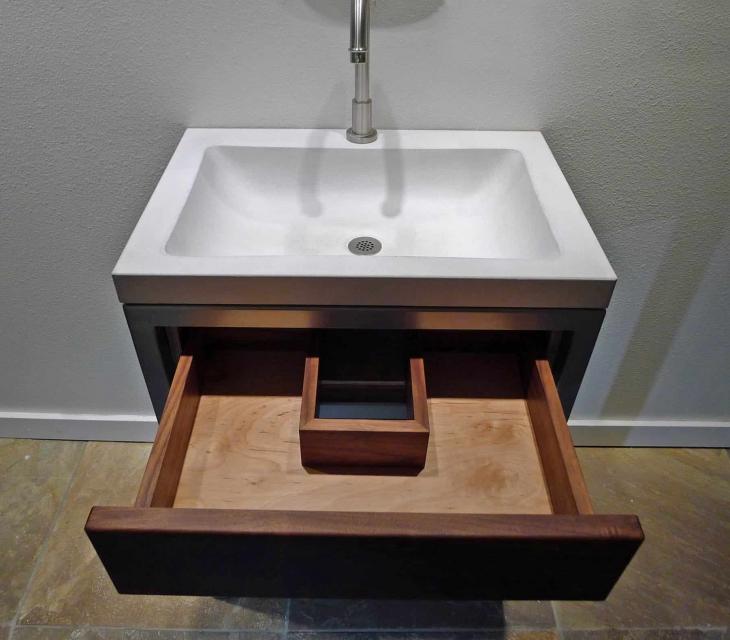 Concrete, steel,  and walnut vanity
