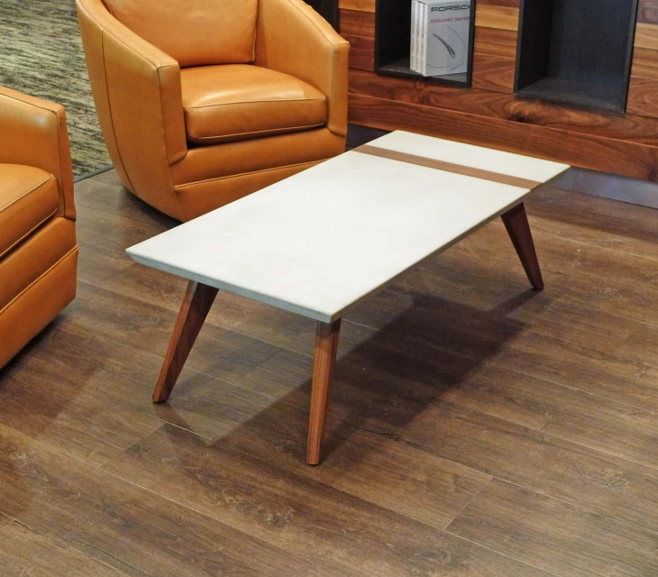 Concrete and walnut coffee table