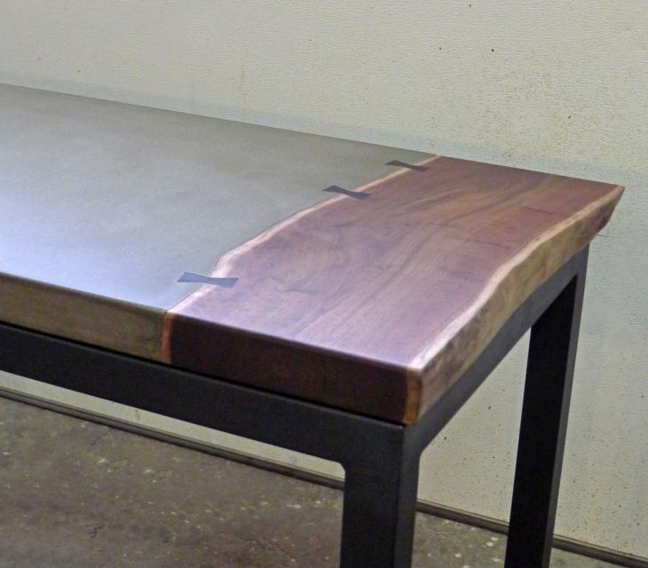 Concrete and walnut desk