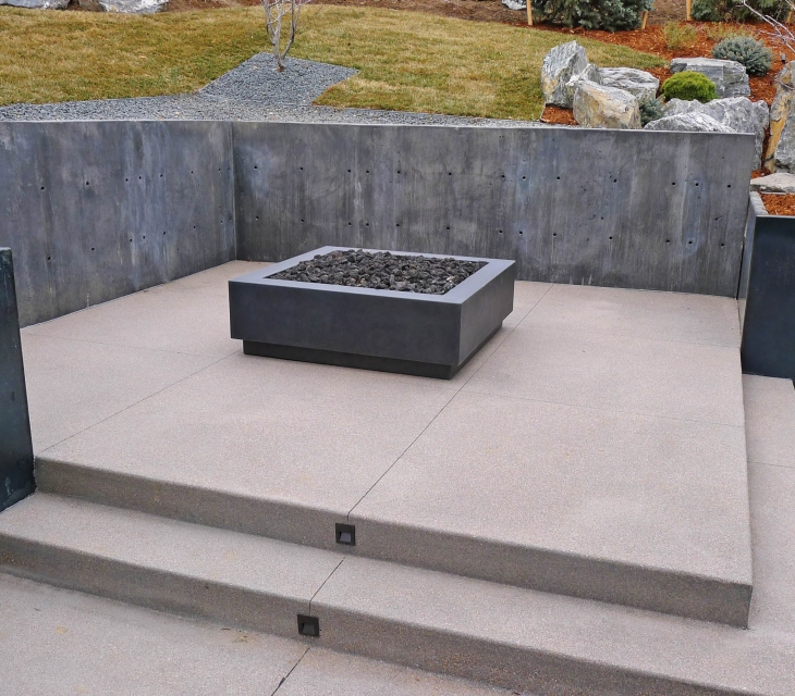 Boulder square concrete firepit