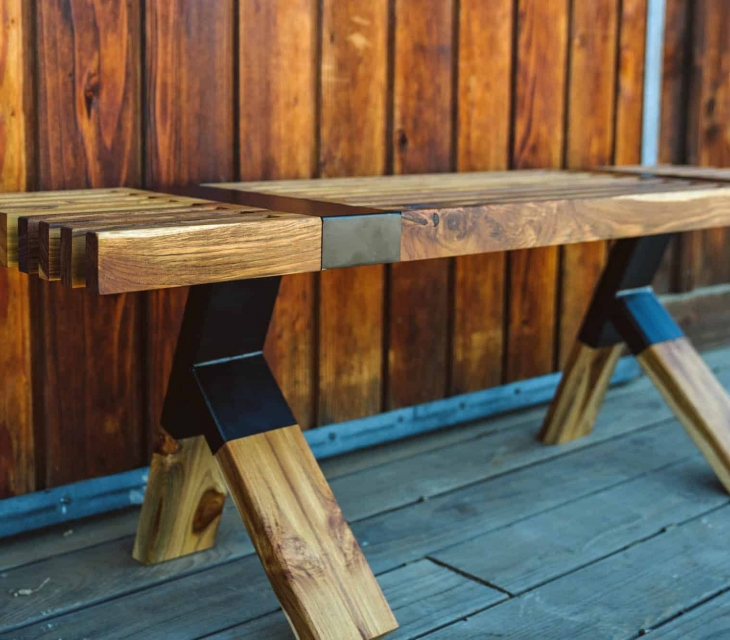 Teak and steel bench