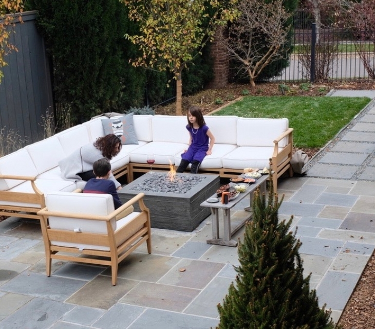 Board formed concrete firepit