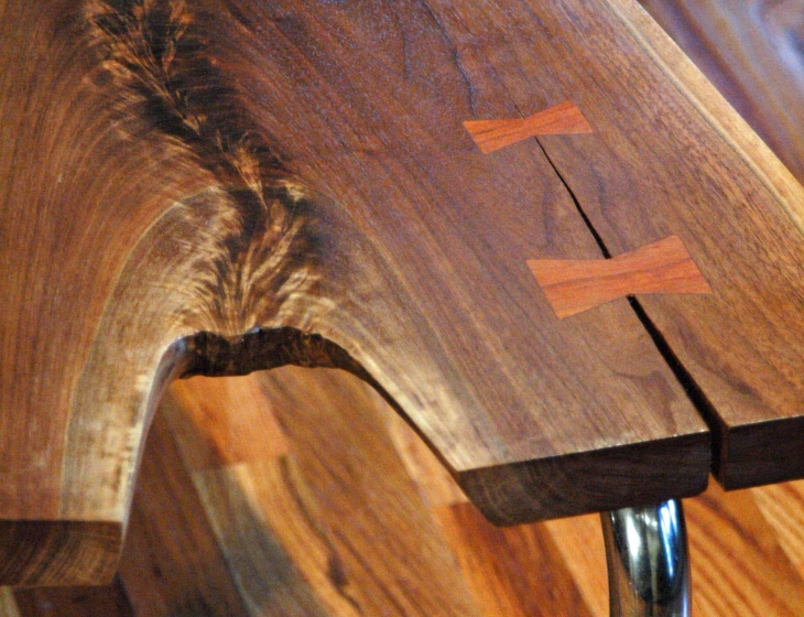 walnut waterfall coffee table