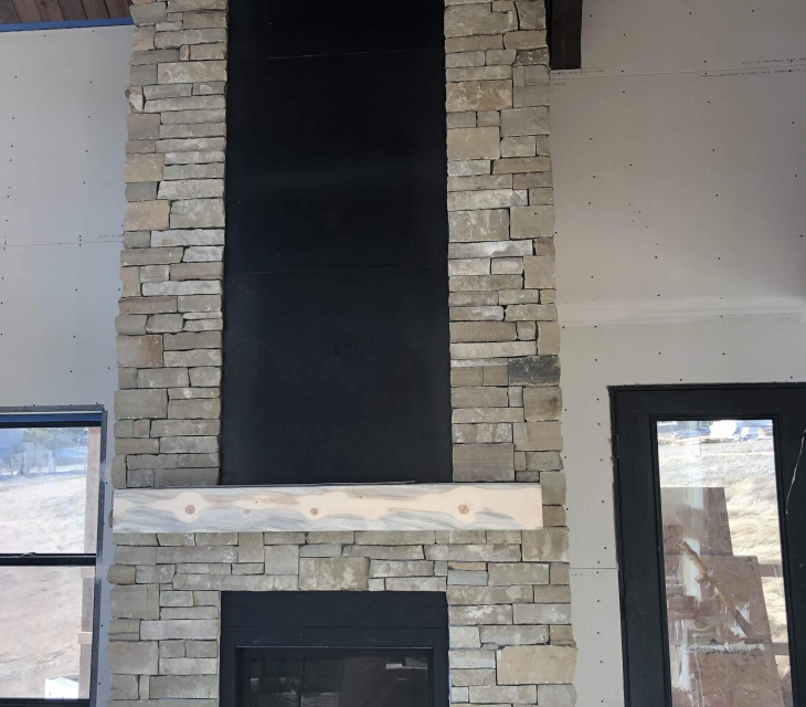 Estes Park steel fireplace surround