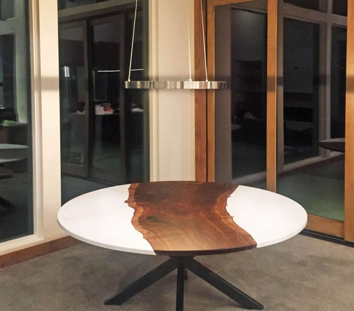 'Tahoe' concrete and claro walnut table