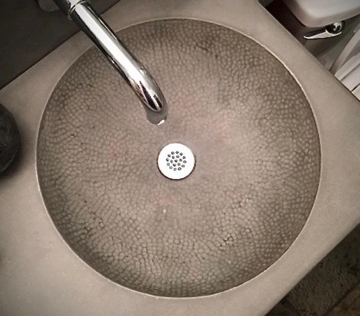 Textured concrete sink