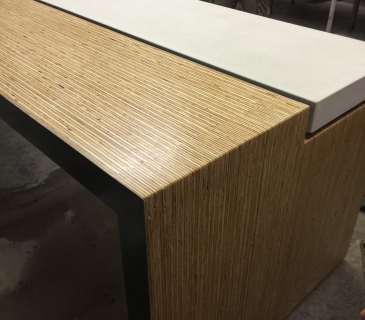 White concrete and plylam table