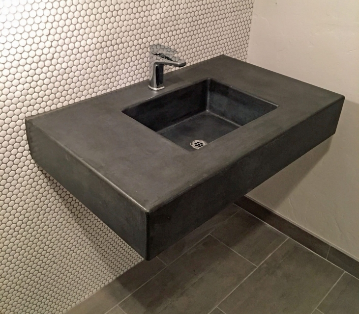 square concrete sink