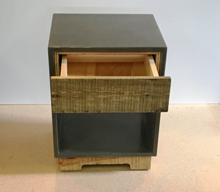 reclaimed wood and concrete nightstand