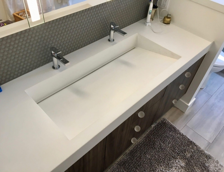 White concrete ramp sink