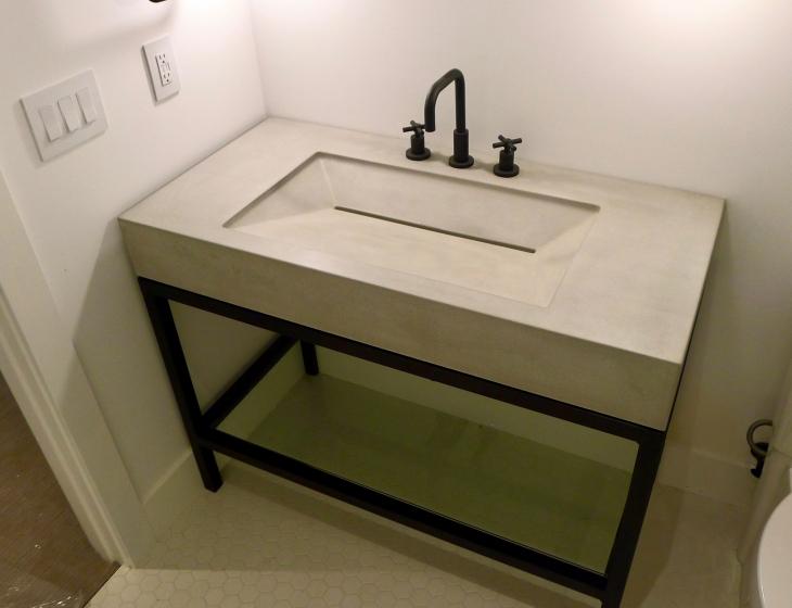 Boulder concrete sink
