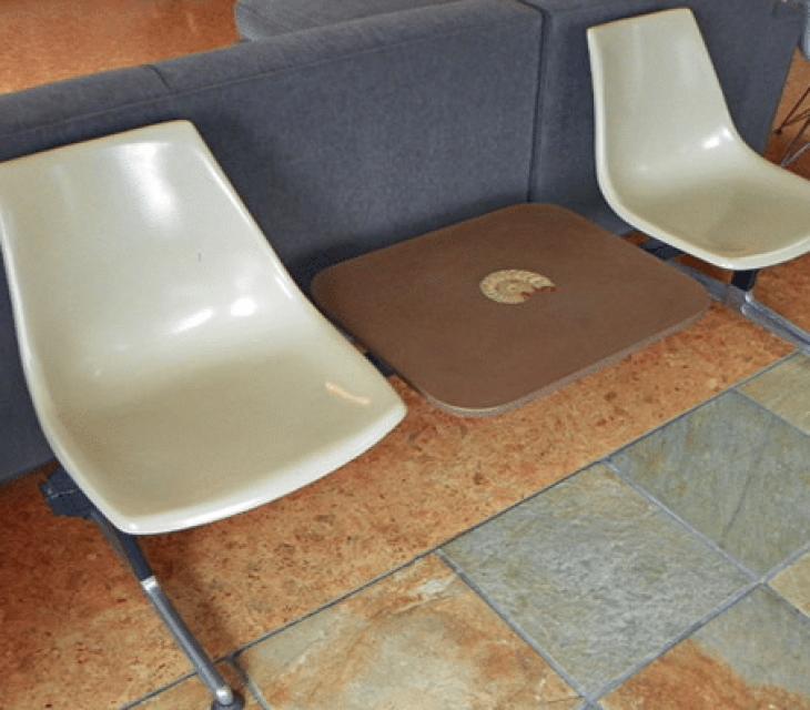 repurposed Eames tandem bench