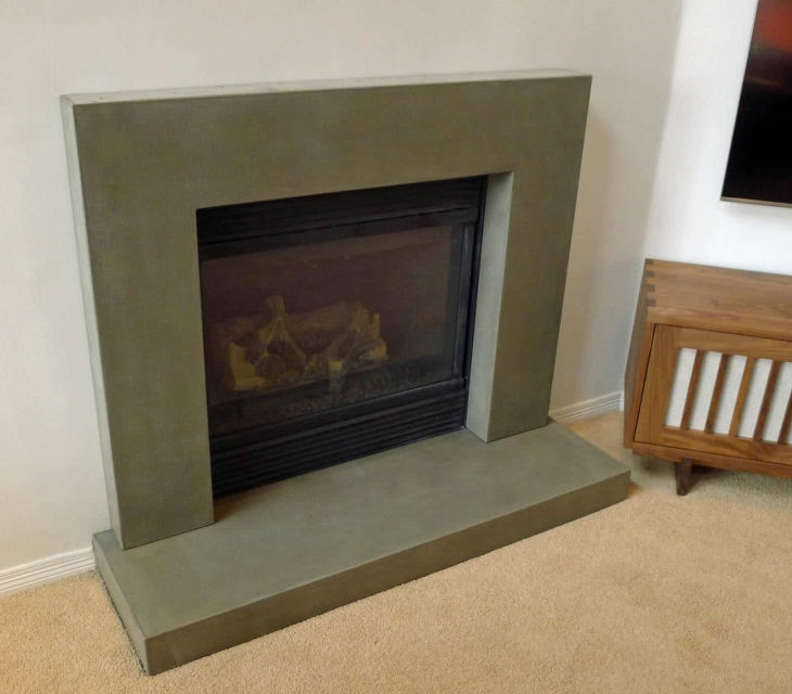 Longmont concrete fireplace surround