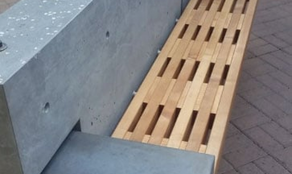 maple bench in place